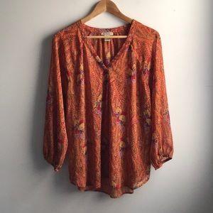 Lucky Brand orange boho sheer long sleeve tunic